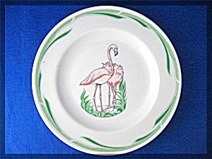 Flamingo Plate Mayor China Co  Beaver Falls PA Vintage (Image1)