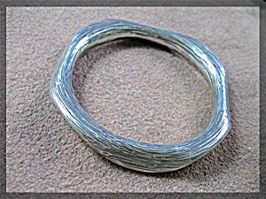 Bracelet Sterling Brushed  Silver Bangle Hand Made (Image1)