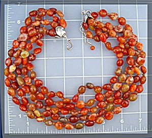 Carnelian Gundi 5 Strands Sterling Silver By Necklace