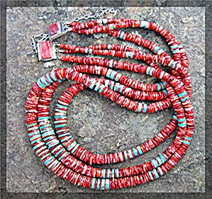Necklace 3 Strand Turquoise Red Spiny Oyster Sterling S