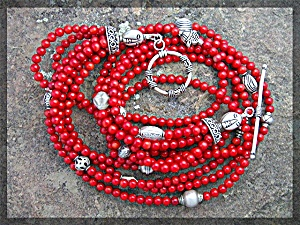Necklace Red  Coral 6 Strand  Sterling Silver Toggle Cl (Image1)