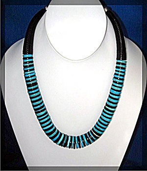 Necklace Native Amturquoise Jet Handmade Chery Crespin
