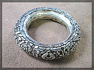 Bracelet Silver Flowers Leaves Bangle Handmade Nepal