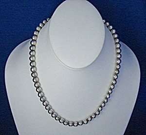 Necklace Sterling Silver 6mm Beads Taxco Mexico (Image1)