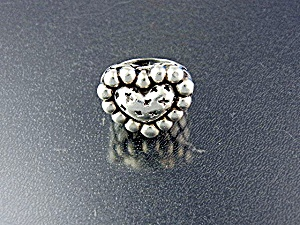Ring Dian Malouf Sterling Silver Heart Cross