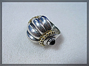Ring Sterling Silver Gold  Black Onyx  Elli Margette   (Image1)