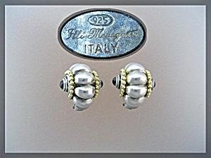 Sterling Silver Onyx Elli Margette Clip Earrings Italy (Image1)