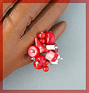 Coral and Sterling Silver Ring Designer Riley Burnette (Image1)
