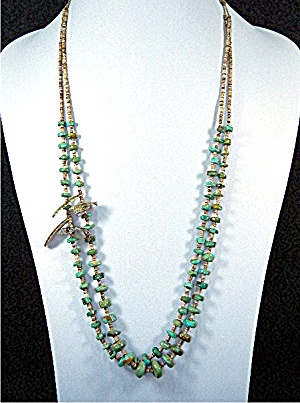 Santo Domingo Kingman Turquoise Shell Heishe Necklace