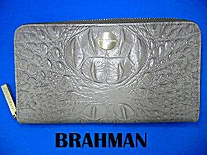 Brahmin Taupe Leather Zip Around Wallet (Image1)