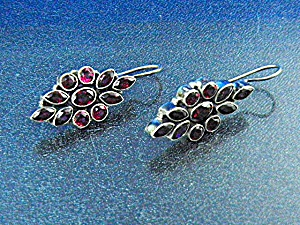 Garnet Sterling Silver Shepherd Hook Earrings