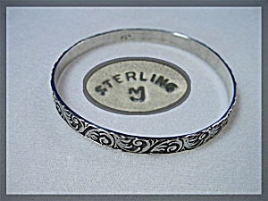 Sterling Silver Scrolled Leaf Bangle Marked J (Image1)