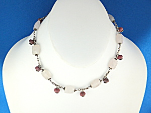 Necklace Sterling Silver Rose Quartz Rhodocrosite  (Image1)
