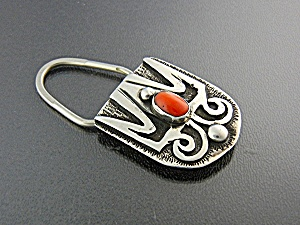 Navajo Coral Sterling Silver  Key Ring  (Image1)