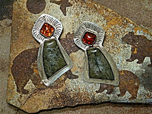 David Troutman Agate & Amber Sterling Silver Earrings (Image1)