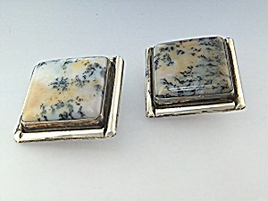 David Troutman Sterling Silver Agate Clip Earrings (Image1)