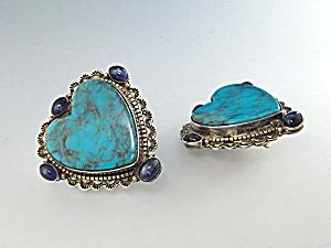 David Troutman Kingman Turquoise Sterling Silver Heart  (Image1)