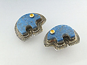 Earrings Denhim Lapis Amber Sterling Silver D. Troutman (Image1)
