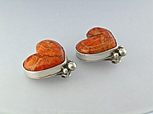 David Troutman  Apple Coral Sterling Silver Heart Clips (Image1)