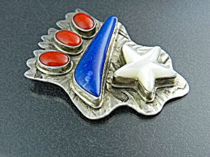 David Troutman Silver Creations Coral Lapis Sterling Si (Image1)
