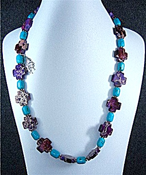 Turquoise Beads Purple Cross Silver Necklace (Image1)