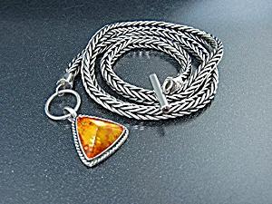 Lori Bonn Sterling Silver Wheat Chain Amber Pendant (Image1)