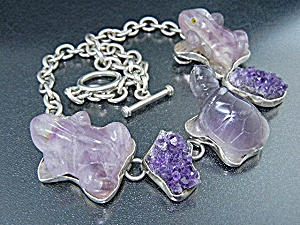 Amy Kahn Russell Carved Amethyst Frog Sterling Silver