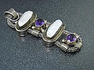 Sterling Silver Biwa Pearls Amethyst Pendant (Image1)