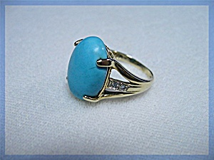 Ring 14K Yellow Gold Persian Turquoise Diamond  (Image1)