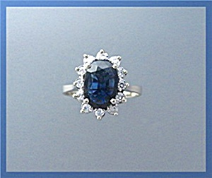 Ring 14K Yellow Gold Sapphire Diamond  (Image1)