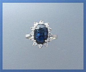 Ring 14K Yellow Gold Sapphire Diamond  (Image1)