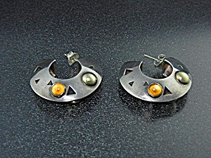 John Atencio 18k Gold Citrine Sterling Silver Earrings