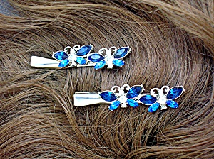 Hair Barretes Blue and Silver Crystals 2 (Image1)