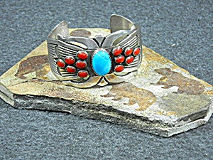 Native American Coral Sterling Silver Turquoise Cuff