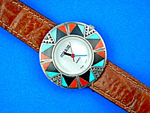 Surrisi Wristwatch Sterling Silver Turquoise Coral Inla