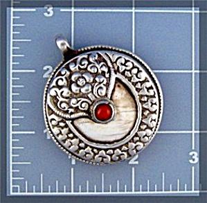 Silver Pendant Tibet Coral Shell Friendship Monkey (Image1)