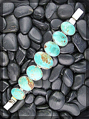 Turquoise Tibet Sterling Silver Bracelet Push Clasp (Image1)