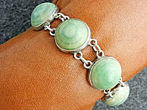 Mexico Sterling Silver Jade Bracelet (Image1)