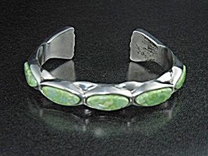 Gaspeite Sterling Silver Santa Fe Artist Saville Cuff (Image1)