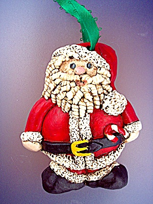 Santa Claus Christmas Ornament with candy cane (Image1)