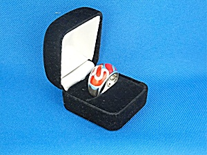 Ring Sterling Silver Apple Coral Signed 'A' (Image1)