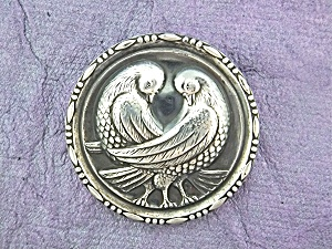 Sterling Silver 60s Doves Birds Brooch Pin Large  (Image1)