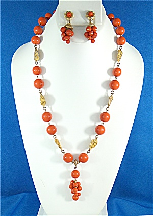 Necklace Earrings Coral Gold Lucite Vintage (Image1)