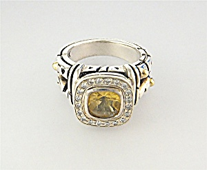 John Atencio 18k Gold Sterling Silver Citrine Diamond