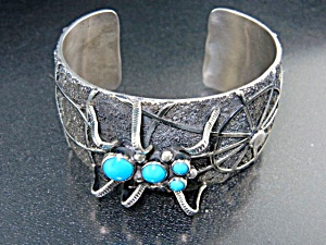 Native American Sterling Silver Turquoise Spider Cuff
