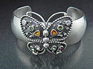 Native American Sterling Silver Gemstone Butterfly Cuff