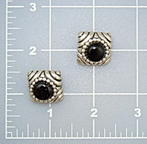Sterling Silver Onyx Clip Earrings  (Image1)