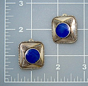 Lapis Sterling Silver Clip Earrings Signed