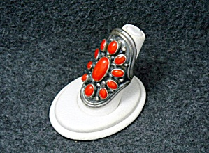 Native American Sterling Silver Mediterranean Coral Rin