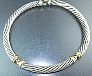 David Yurman 14k Gold Sterling Silver Cable Necklace